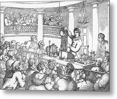 Humphrey Davy Lecturing, 1809 Metal Print by Science Source