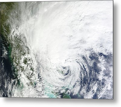 Hurricane Sandy Over The Bahamas Metal Print by Stocktrek Images