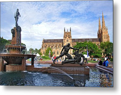 Hyde Park Fountain And St. Mary's Cathedral Metal Print by Kaye Menner