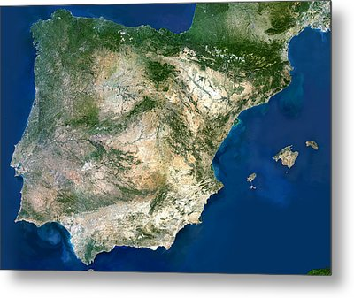 Iberian Peninsula, Satellite Image Metal Print by Planetobserver