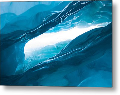Ice Cave On The Glacier Metal Print by John White