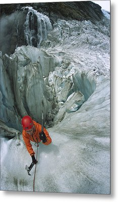 Ice Climber On Steep Ice In Fox Glacier Metal Print by Colin Monteath