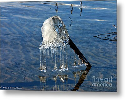 Icy Fence Post Metal Print by Mitch Shindelbower
