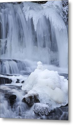 Icy Winter Waterfall Metal Print by John Stephens