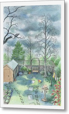 Illustration Of A Dark Clouds Over A Garden Metal Print by Dorling Kindersley