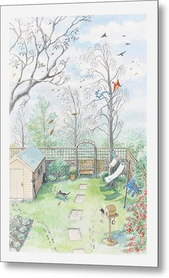 Illustration Of A Garden As A Storm Is Developing Metal Print by Dorling Kindersley