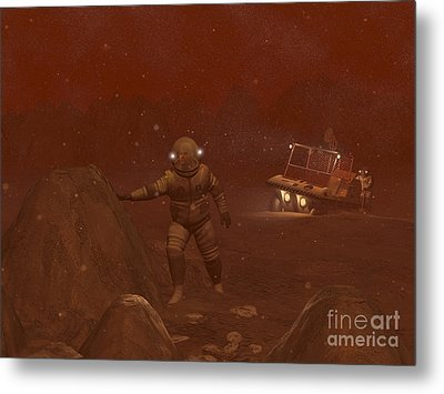 Illustration Of Astronauts Exploring Metal Print by Walter Myers