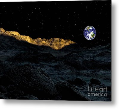 Illustration Of The Peaks Surrounding Metal Print by Ron Miller