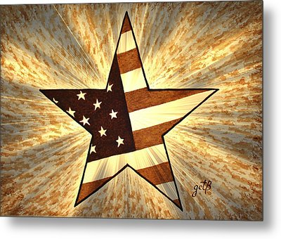 Independence Day Stary American Flag Metal Print by Georgeta  Blanaru