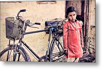 Indian Boy With Cycle Metal Print by Parikshat sharma
