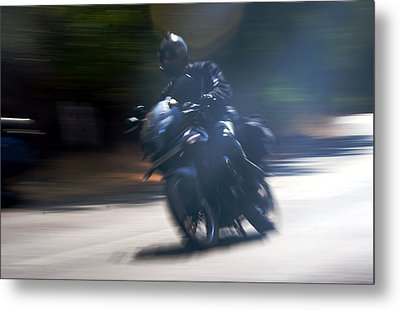 Indian Rider Leans Metal Print by Kantilal Patel
