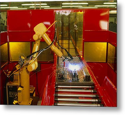 Industrial Robot Welding On Production Line Metal Print by David Parker600-group