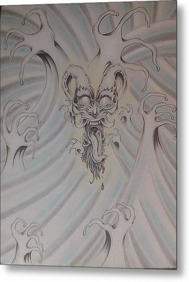 Ink And Pastel Oriental Style Dragon And Waves Metal Print by Andrew Longhi