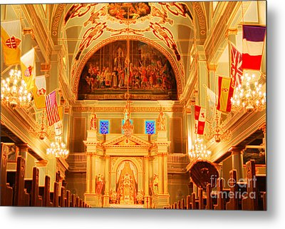 Inside St Louis Cathedral Jackson Square French Quarter New Orleans Accented Edges Digital Art Metal Print by Shawn O'Brien