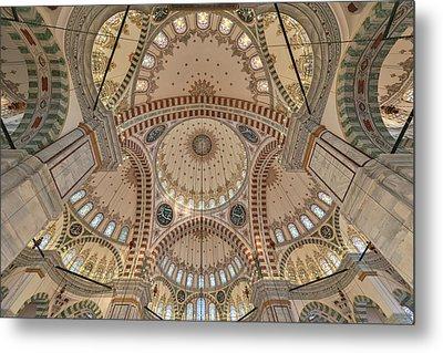 Interior Of Fatih Mosque Metal Print by Salvator Barki