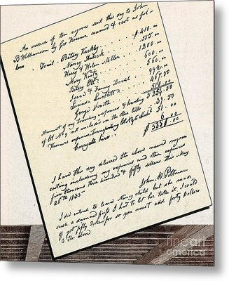 Invoice Of A Sale Of Black Slaves Metal Print by Photo Researchers