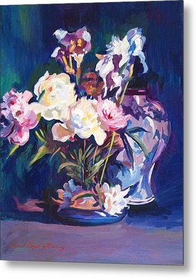 Iris Peonies And Chinese Vase Metal Print by David Lloyd Glover