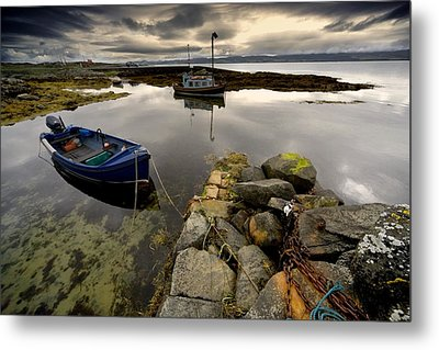 Islay, Scotland Two Boats Anchored By A Metal Print by John Short