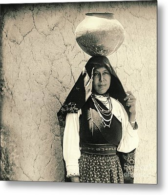 Isleta Pueblo Woman 1910 Metal Print by Padre Art