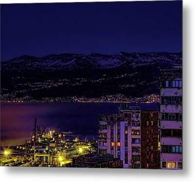 Istrian Riviera At Night Metal Print by Jasna Buncic