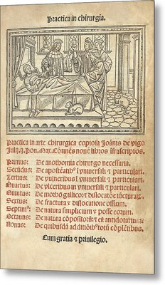 Italian Book On Surgery, 1514 Metal Print by King's College London