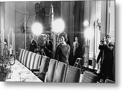 Jacqueline Kennedy And Television Crew Metal Print by Everett