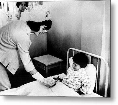 Jacqueline Kennedy Left, Presents Metal Print by Everett