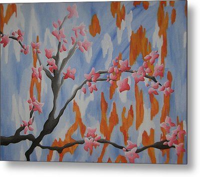Japanese Cherry Blossoms Metal Print by Joanna Leack