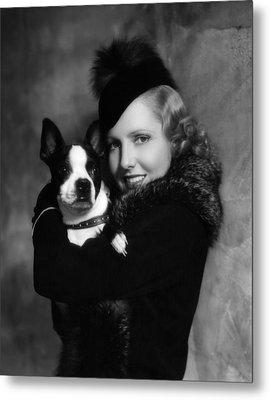 Jean Arthur With Boston Terrier, 1935 Metal Print by Everett