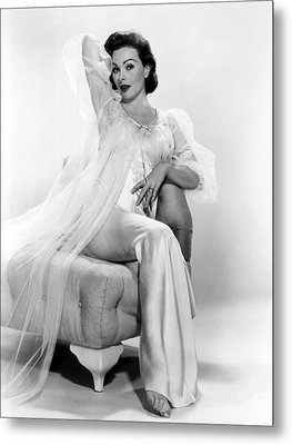 Jeanne Crain Posing In A Negligee, 1957 Metal Print by Everett