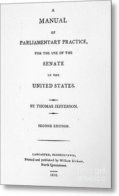 Jefferson: Title Page, 1810 Metal Print by Granger