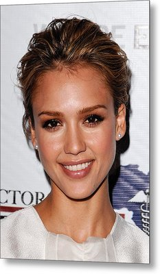 Jessica Alba At Arrivals For African Metal Print by Everett