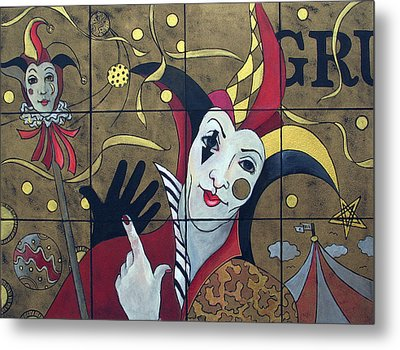 Jester In Red Metal Print by Susanne Clark