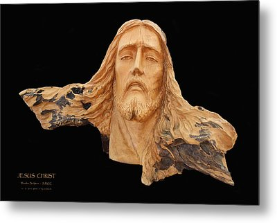 Jesus Christ Wooden Sculpture -  Four Metal Print by Carl Deaville