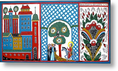 Jesus Meets Zackeus When Entering Jerusalem Metal Print by Leif Sodergren