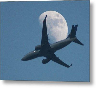 Jet In Front Of Moon Metal Print by KM&G-Morris
