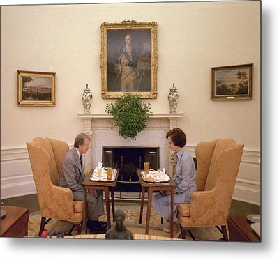 Jimmy Carter And Rosalynn Carter Having Metal Print by Everett