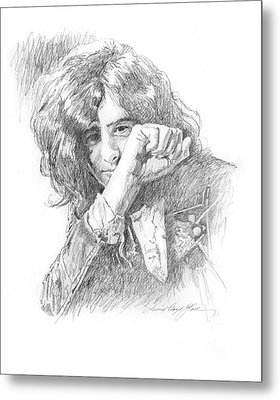 Jimmy Page In Person Metal Print by David Lloyd Glover