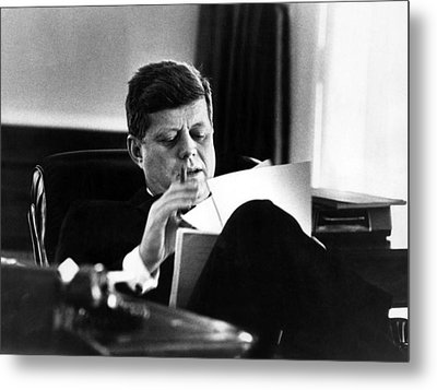 John F. Kennedy, In His Office Metal Print by Everett