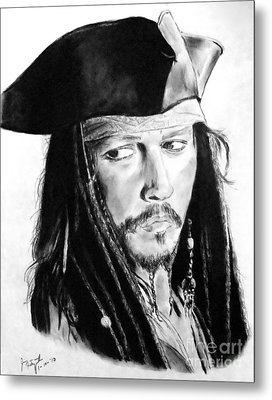Johnny Depp As Captain Jack Sparrow In Pirates Of The Caribbean Metal Print by Jim Fitzpatrick
