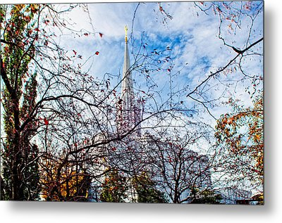 Jordan River Temple Branches Metal Print by La Rae  Roberts