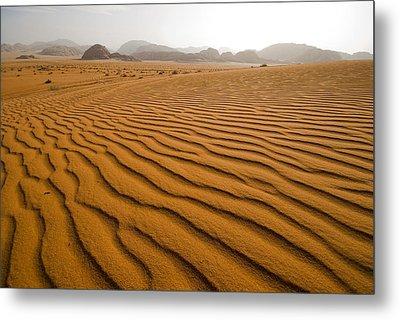 Jordan Wadi Rum Sand Dunes Pattern Metal Print by Jason Jones Travel Photography