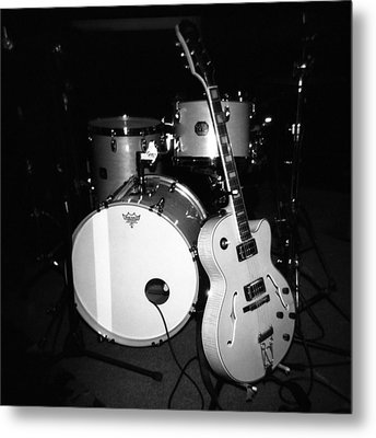 Jp Soars Guitar And Drum Kit Metal Print by Kathy Hunt