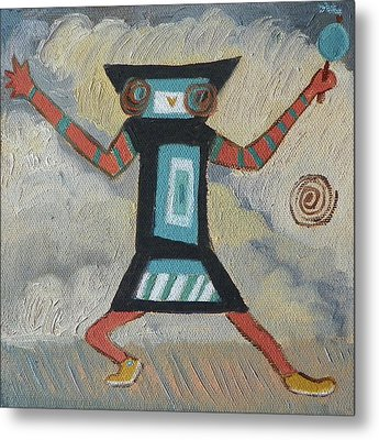 K Is For Kachina Detail From Childhood Quilt Painting Metal Print by Dawn Senior-Trask