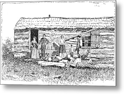 Kansas: Early House, 1854 Metal Print by Granger