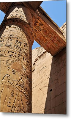 Karnak Temple Columns Metal Print by Michelle McMahon