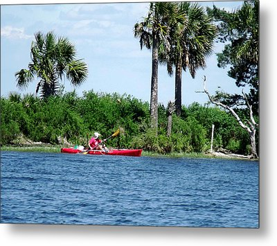 Kayaking Along The Gulf Coast Fl. Metal Print by Marilyn Holkham