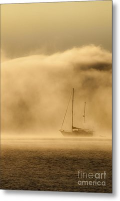 Ketch In Mist Metal Print by Avalon Fine Art Photography