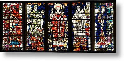 Kings And Holy Men Medieval Stained Glass Collage Metal Print by Lisa Knechtel