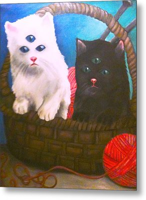 Kittens In A Basket Metal Print by Katie Victoria Tolley